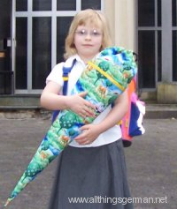 Starting school: with the Schultüte in front of the Church