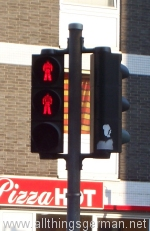 Red pedestrian traffic lights