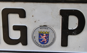 A German number plate after the emissions sticker has been removed