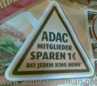 The ADAC offer, announced on a tray insert in Burger King