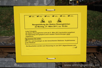 A notice at Rosengärtchen informs commuters of the re-building work
