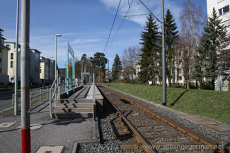An end-on view of the Rosengärtchen stop on the single track section