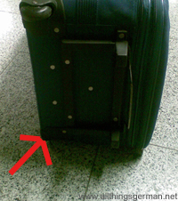 The suitcase on arrival in Frankfurt