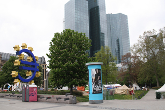 Occupy camp at the EZB in Frankfurt, near Willy-Brandt-Platz