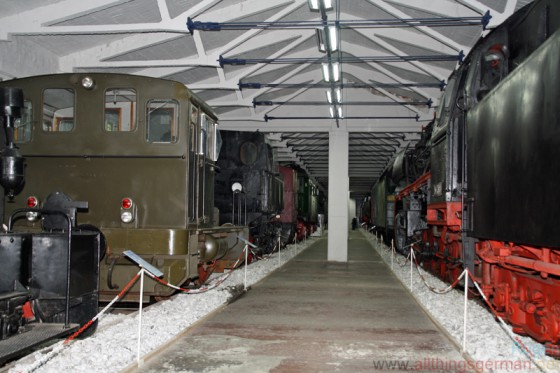 Rows of locomotives in the Railway and Technical Museum on Rügen