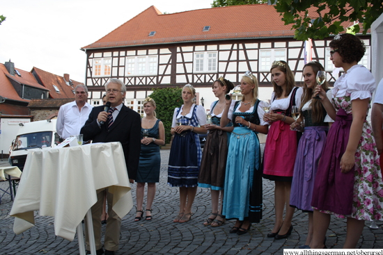 Hans-Georg Brum, Mayor of Oberursel, opening the 12th Rheingau Wine Festival at the Marktplatz