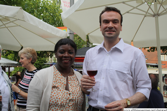Councillor Peter Crerar, Mayor of Rushmoor, with his wife and Mayoress Norma at the opening of the wine festival