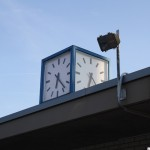 The clock on the lifeguards' building