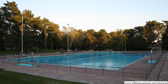 Oberursel's outdoor swimming pool as it shut at 7pm on 16th September 2012