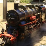 A miniature steam train on the Rathausplatz