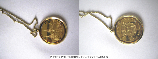 Golden coin (Photo: Polizeidirektion Hochtaunus)