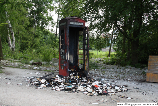 The burnt out telephone box on Sunday morning