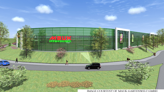 The new Mauk garden centre (artist's impression, viewed from the crossing on the Homburger Landstrasse)