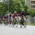 The U23 leading group passing the Station Rosengärtchen during the cycle race Rund um den Finanzplatz Eschborn-Frankfurt