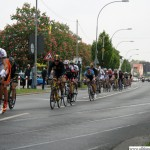 The Elite group pass the U-Bahn level crossing on the Hohemarkstraße during the cycle race Rund um den Finanzplatz Eschborn-Frankfurt on Thursday, 1st May, 2014.
