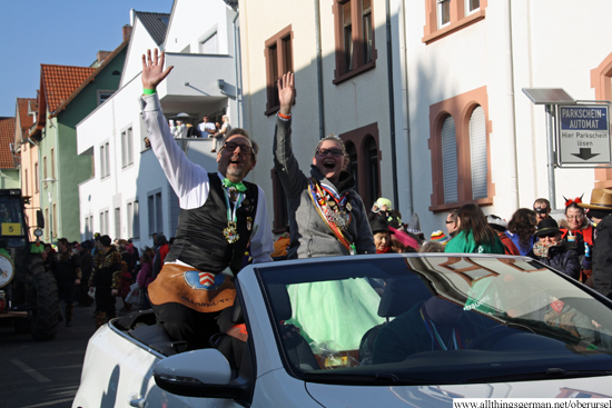 Fountain Queen Carolyn II. with her Brunnenmeister Harald pass through the Henchenstrasse during the carnival procession on Sunday, 15th February, 2015