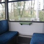 Tables and blue upholstery in train set nr. 406