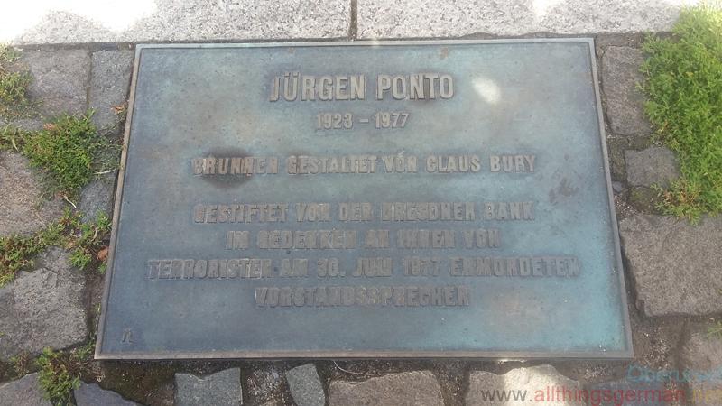Juergen Ponto Fountain - dedication plaque