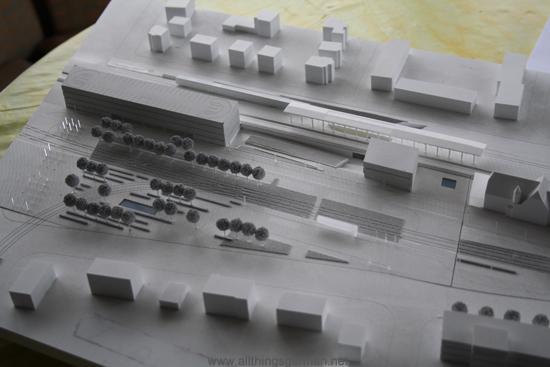 Model of Oberursel station's car park area