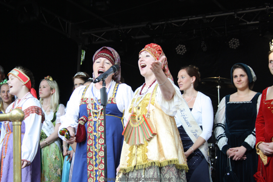 Guests from the Twin Town of Lomonossow in Russia dance on stage at the opening of the Brunnenfest (Fountain Festival) in Oberursel