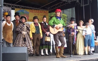 The 'Datterich' Ensemble giving a preview performance at the Epinayplatz, Oberursel