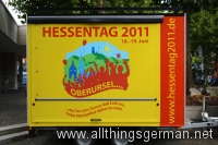 The Hessentag trailer parked outside the Rathaus