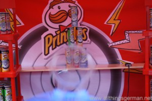 A view through the sight towards the Pringles cans