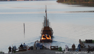 The funeral pyre departing