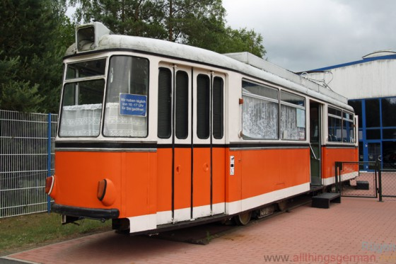 The entrance to the railway museum on Rügen is through a tram