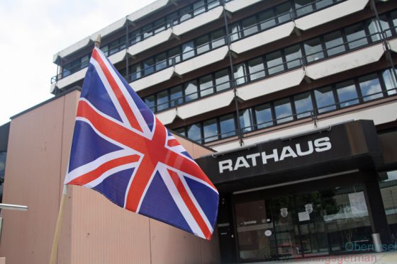 The Union Jack outside Oberursel Rathaus