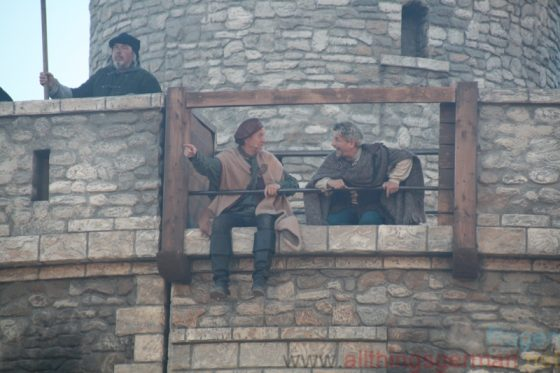 Siggi (Charles Lemming) and Der Kleene (Volker Zack) watch the proceedings from the safety of Stockholm
