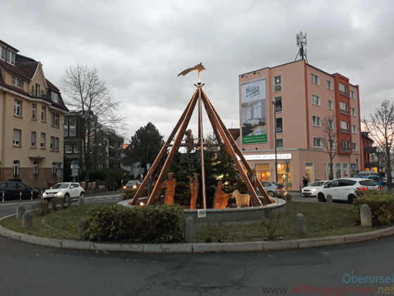 The nativity scene at the Homm-Kreisel in Oberursel in 2019