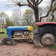 The playground with the tractor