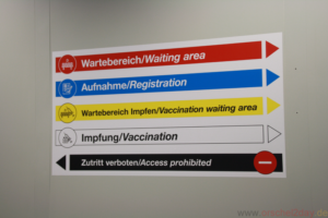 Signs in the centre in German and English