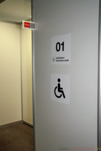 Some cubicles are wider for wheelchair users