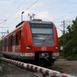 An S-Bahn train leaving the station in Oberursel