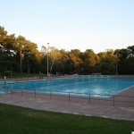The outdoor pool at 7pm - now empty