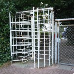 The turnstile next to the changing rooms