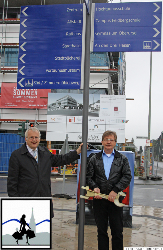 Hans-Georg Brum and Wolfgang Bräutigam with one of the new signs, inset: the Shopping Lady (Photo: Stadt Oberursel)