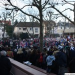 Crowds in front of the town hall