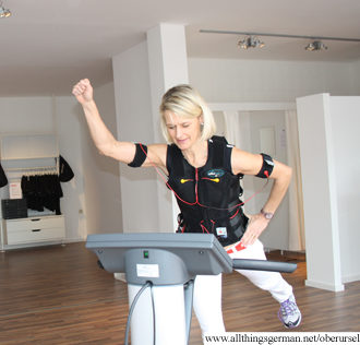 Carolyn Cozzo demonstrates the EMS training at Bodystreet
