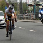 The leading cyclist in the Junioren race passes Camp King