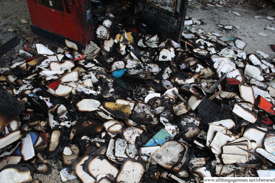 Charred remains of the books in the Rushmoor Park