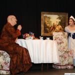 Baron von Trutz-Zellin (Beppo Bachfischer) chatting at the breakfast table with servant Sannchen (Mehtap Burnaz)