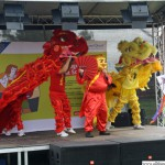 Dancers from the Chinese School performing a dragon dance