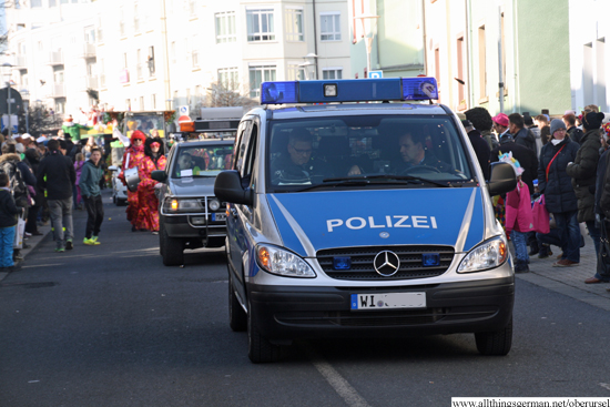 Police clear the way for the 2015 carnival procession in the Henchenstrasse