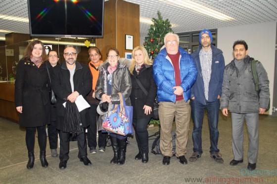 Members of the Ausländerbeirat in January 2016: Natalia Bind (AZO), Meral Köktas (AZO), Rino Folisi (AZO), Fatemeh Nasseri (ILO), Chantal Le Nestour (ILO), Giannoula Kalargali (AZO), Dr. Franz Zenker (ILO), Puya Nasseri (ILO), Homayun Wafa (ILO)