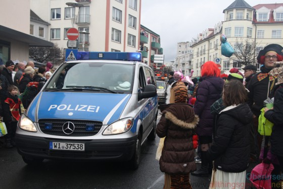 The leading police car at the Epinay-Play during the carnival procession on Sunday, 7th February, 2016