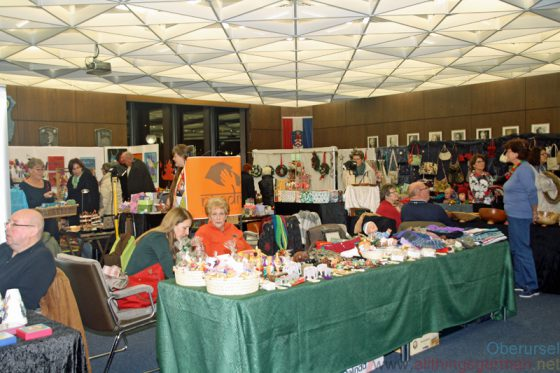 Inside Oberursel's town hall there are a number of handicraft stalls selling their wares during the Christmas Market.