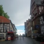 The skies clear above the market square before the Brunnenfest on Friday, 9th June, 2017